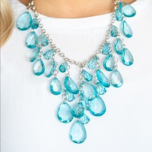 Glassy Blue Teardrop Necklace Earring Set NWT